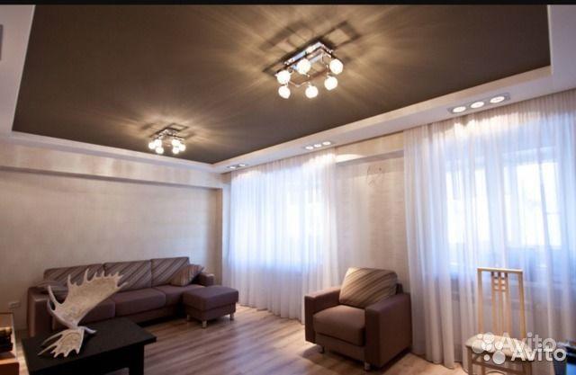 Натяжной потолок сатиновый темно-коричневый. Республика Татарстан, Нижнекамск