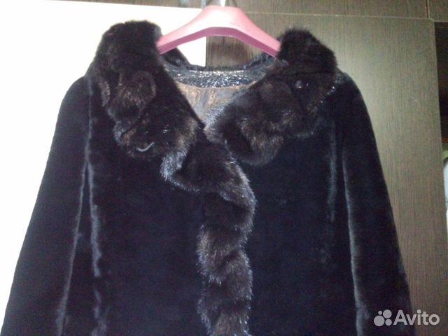 Теплая шуба мутоновая с норковым воротником 89525553825 купить 1