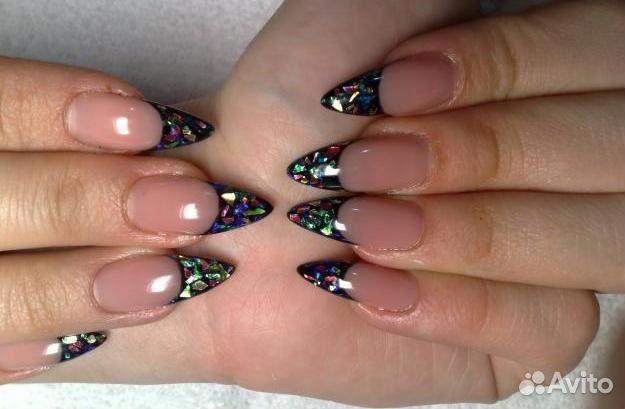 Дизайн ногтей со слюдой и блестками фото