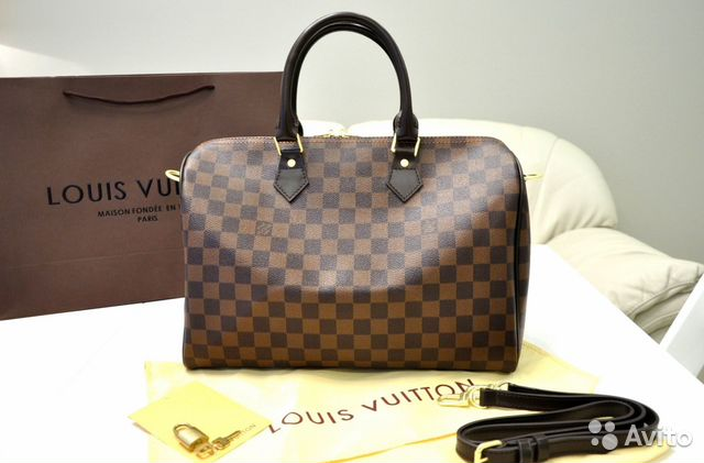 3ecd21c672a4 Сумка Louis Vuitton Speedy коричневая шашка новая   Festima.Ru ...