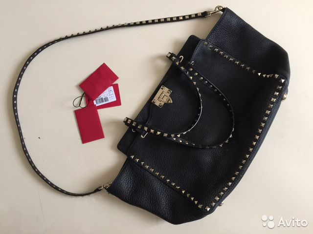 Кожаные ботинки с шипами Valentino - Черные кожаные