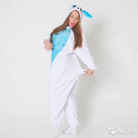 Пижама (кигуруми) Зайчик голубой размер L  a1dcea17a3cb5