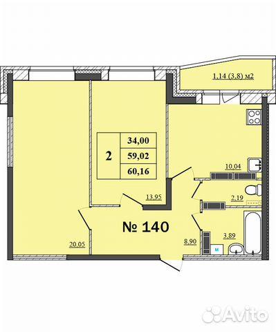 2-к квартира, 60.2 м², 13/17 эт. 89611549263 купить 2