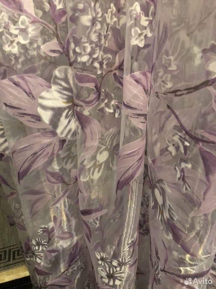 Тюль новый 4 метра хлопковые цветы сирень