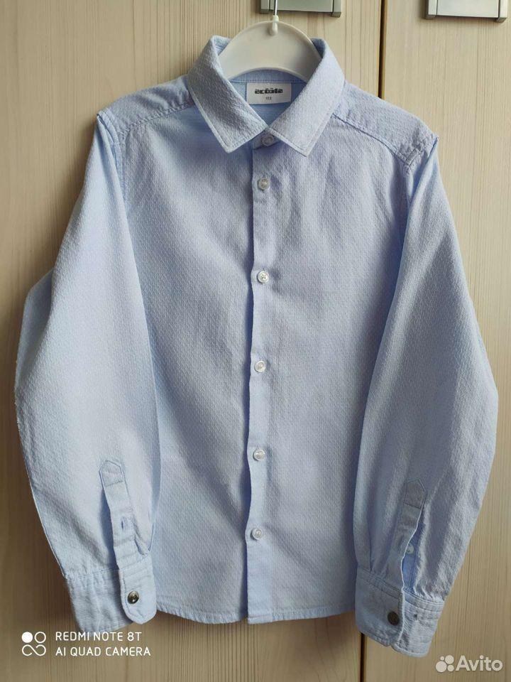 Рубашка голубая на рост 122см  89065035959 купить 2